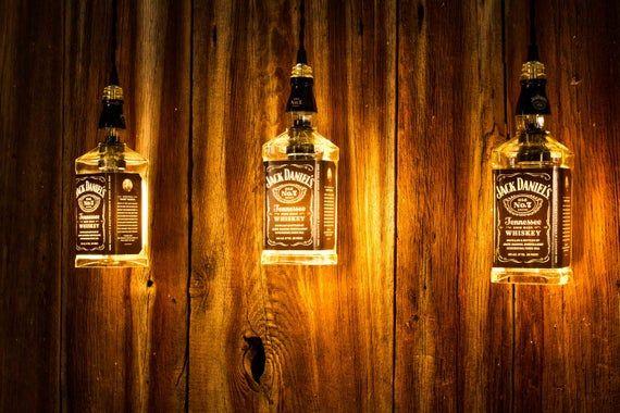 Whiskey Bottle Light Industrial Lighting Pendant Light Rustic Home Decor Man Cave Lighting Pool Table Light Bar Decor Hanging Light Liquor Bottle Lights Bottle Lights Whiskey Bottle Crafts