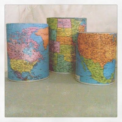 cheap thrift store tins covered in vintage maps = fun new pencil, pen, and marker cups.
