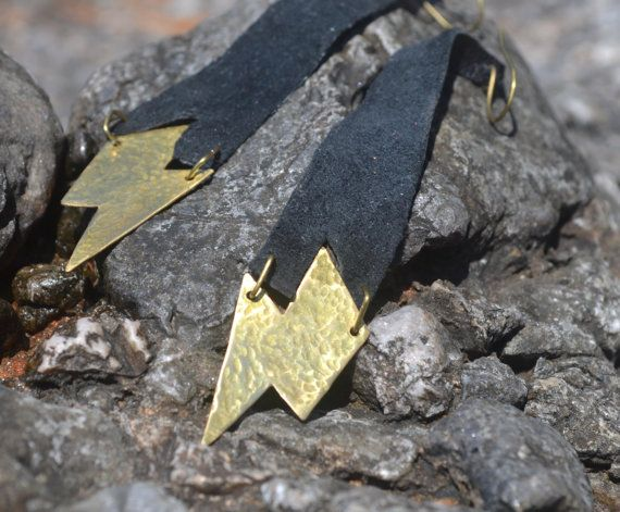 Lightning bolt brass earrings with leather by fanoulala on Etsy