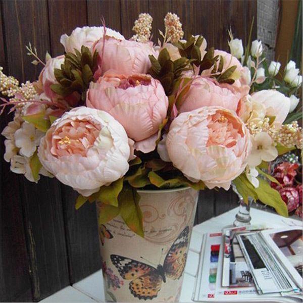 1 Bouquet Elegant Peony Silk Flowers Fake Leaf Wedding Party Decor Decoration