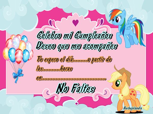 Invitación litte ponnis | invitación Little Pony | Pinterest ...