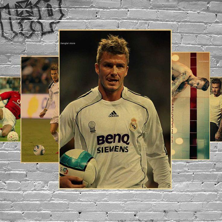 Football Player David Beckham Sports Posters Home Decorative Soccer Star Poster Retro Wallpaper Wall Sticker Kraft Paper #Affiliate