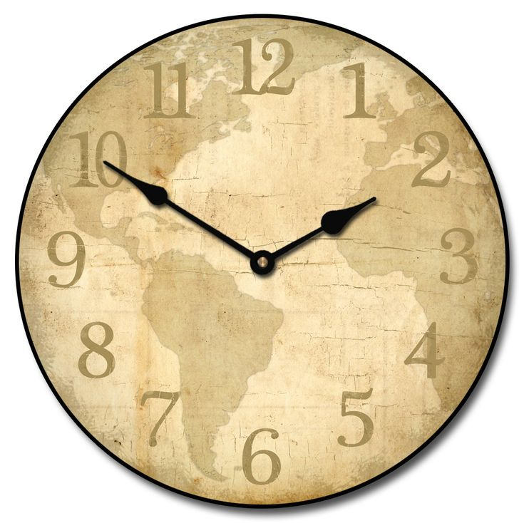 27 best world map clocks images on pinterest world maps wall parchment world map wall clock by thebigclockstore on etsy gumiabroncs Choice Image