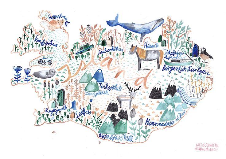 Iceland Kids Illustration  - Gretas Schwester (Swimming Poster)