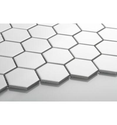Hexagon duży, biały, matowy - Płytki ceramiczne - Sklep z płytkami Mozaikowe.pl