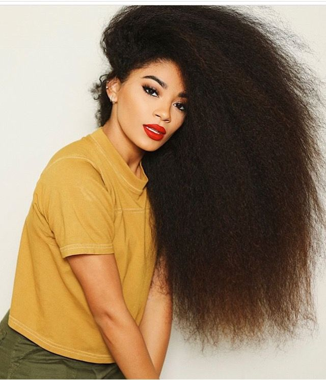 Jasmean Brown Long Brushed Out Curly Natural Hair Red Lip In