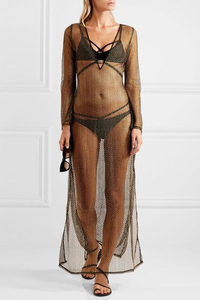 L'Agent by Agent Provocateur - Kristen Metallic Mesh Coverup - Gold - x small