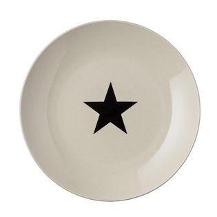 Assiette à dessert en grès blanc cassé motif étoile noire Bloomingville | DECOCLICO