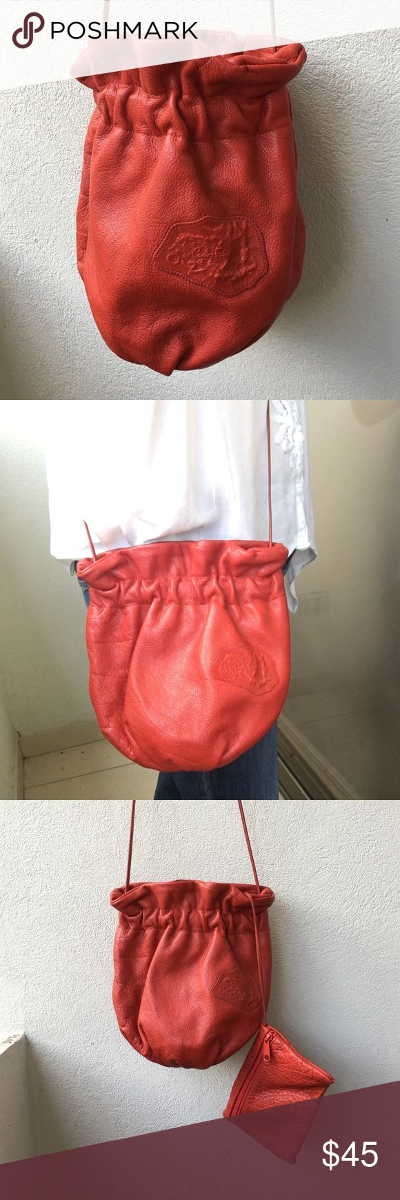 """Carlos Falchi Vintage Red Leather Crossbody Preowned Carlos Falchi Vintage Red Leather Crossbody. Barely worn. Measures 9"""" x 10"""" inches. Strap is 49"""" inches. Please look at pictures for better reference. Happy shopping!! Carlos Falchi Bags Crossbody Bags"""