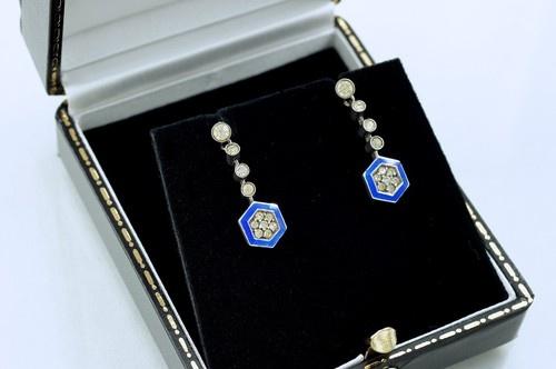 Vintage Art Deco Silver Paste Blue Enamel Drop Dangle Screw Back Earrings WB 935   eBay