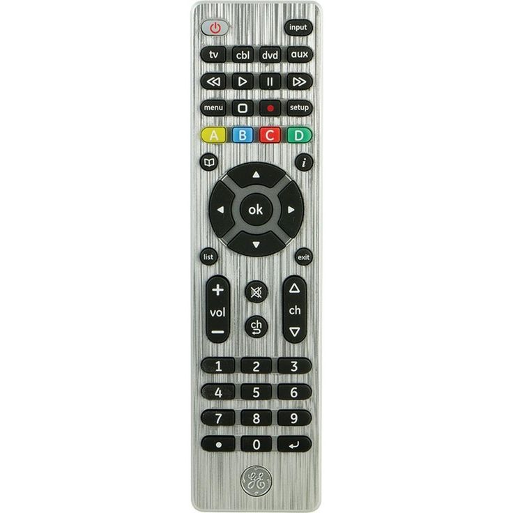 General Electric 33709 4-Device Universal Remote Control. Controls up to 4 devices including TV, Blu-ray(TM) player, DVD, DVR, cable, satellite, streaming media players & many more;  Comprehensive code library works with all major brands;  Advanced DVR functionality;  Ergonomic design;  Dot button sub-channel access;  Requires 2 AAA batteries;  Includes instruction manual & code library list for easy setup;  Brushed silver finish;General Electric 33709 4-Device Universal Remote…