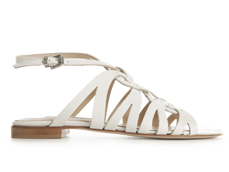 Gaia white leather flat sandals