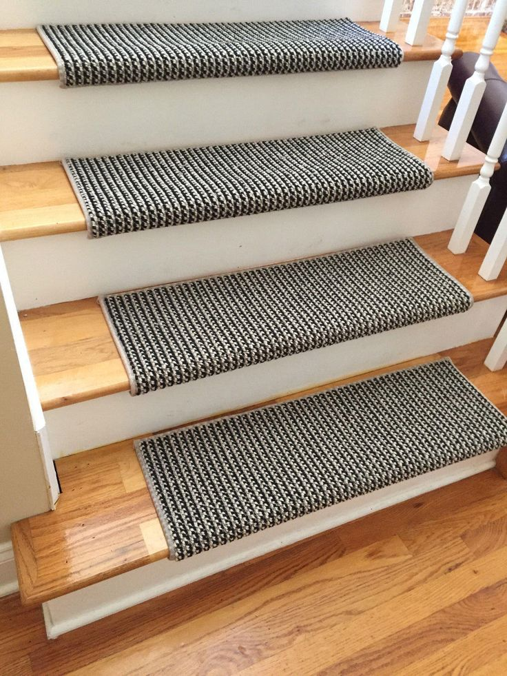Black Jack 100% New Zealand Wool! - TRUE Bullnose™ Carpet Stair Tread Runner Replacement Upgrade Safety Comfort for Family/Pets (Sold Each) by BullnoseStairTreads on Etsy