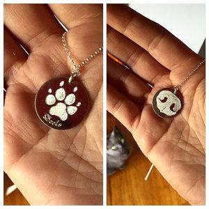 Double sided dog nose and paw print pendant