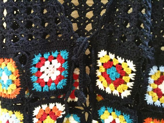Granny Square Crochet Vest Tie Front by TinaCrochet2016 on Etsy