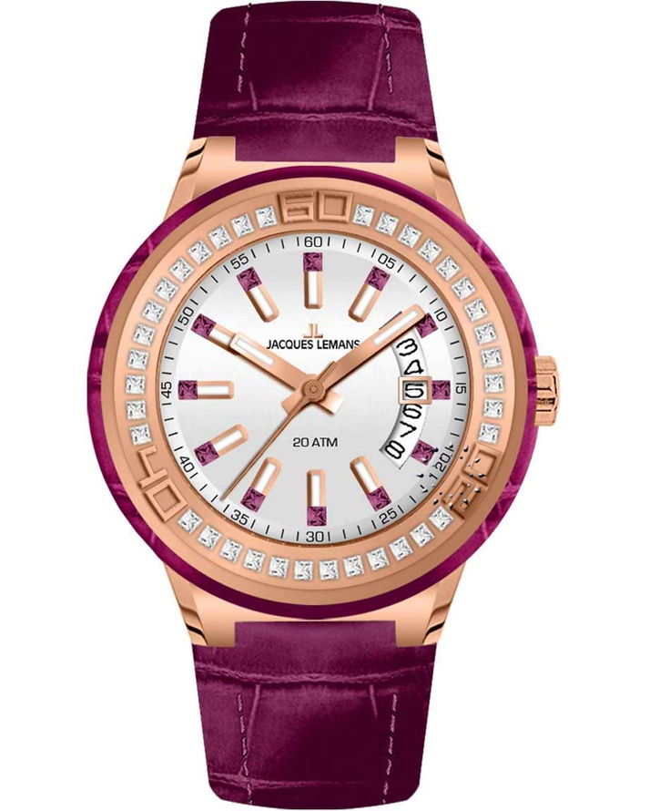 Jacques LEMANS Miami Crystal Ladies Purple Leather Strap Μοντέλο: 1-1776H Η τιμή μας: 179€ http://www.oroloi.gr/product_info.php?products_id=33861
