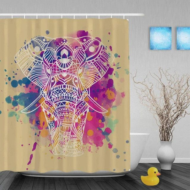 Art Painting African Elephant Shower Cutains Cute Animal Decor Bathroom Shower Curtains Polyester Waterproof Fabric With Hooks