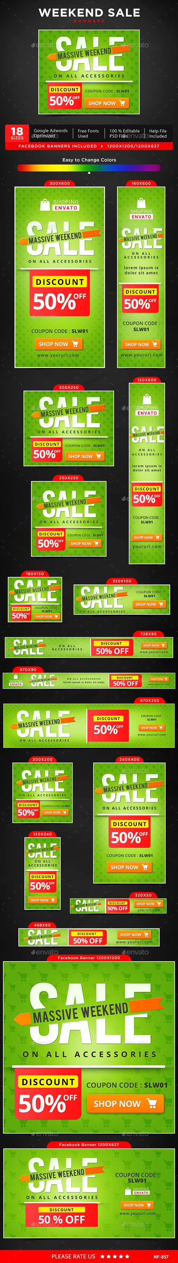 Weekend Sale Web Banners Template PSD #design #ads Download: http://graphicriver.net/item/weekend-sale-banners/13876873?ref=ksioks