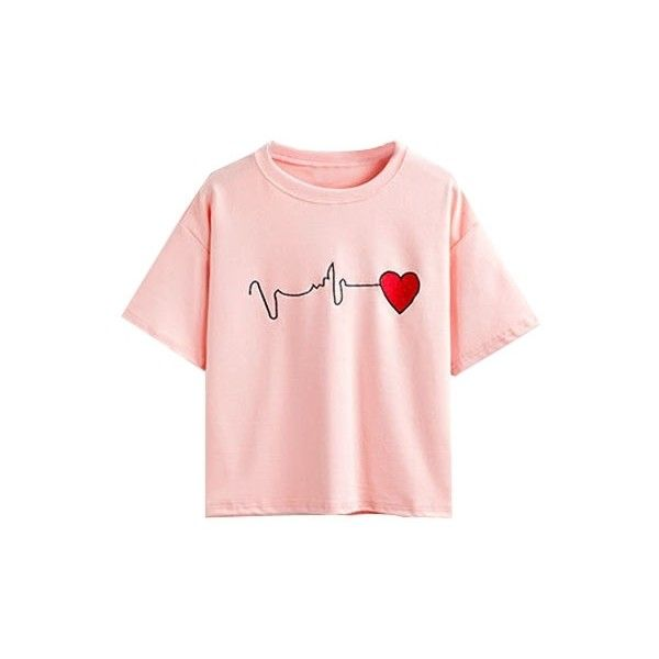 Round Neck Heart Beat Embroidery Short Sleeve Tee ($23) ❤ liked on Polyvore featuring tops, t-shirts, hearts, pink, embroidered t shirts, cotton tee, graphic t shirts, pink top and short sleeve t shirt