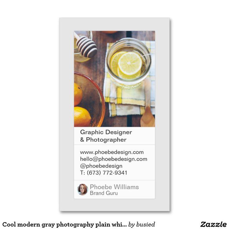 Cool Modern Gray Photography Plain White Portfolio Business Card