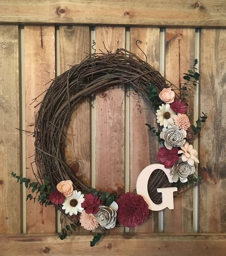 Grape vine and wood flower wreath.