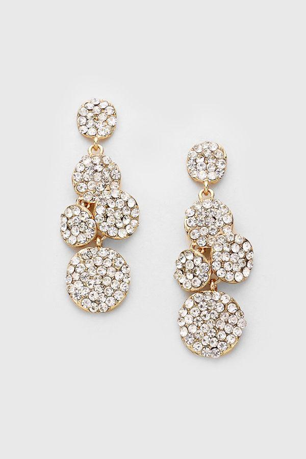 Crystal Ova Earring in Gold