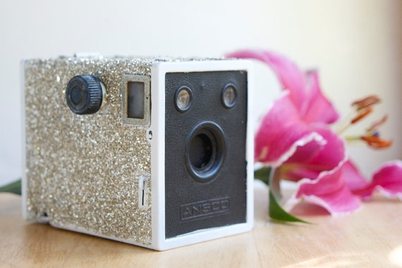 Old cameras make new decorations!  1. Go to a thrift store, collect old-vintage-damaged-ect camera(s)    2. Collect: glitter of any color, mod podge/glue, paint brush (small and medium) and a plastic bowl (one small, one large).    3.Paint camera with glue and sprinkle away! (small bowl filled with glitter, big bowl catches the extras)
