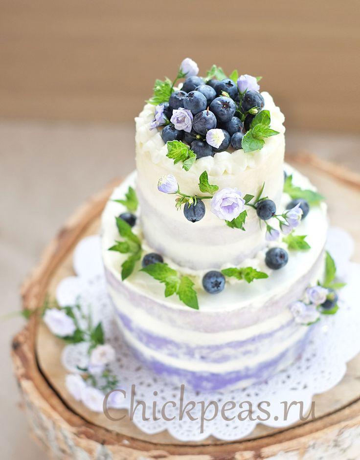 Торт-омбре в стиле рустик с голубикой и лавандовым сиропом | Chickpeas