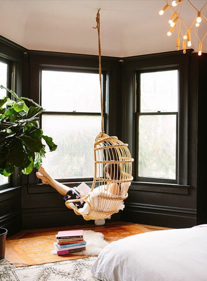 hängesessel mit gestell schlafzimmer ideen