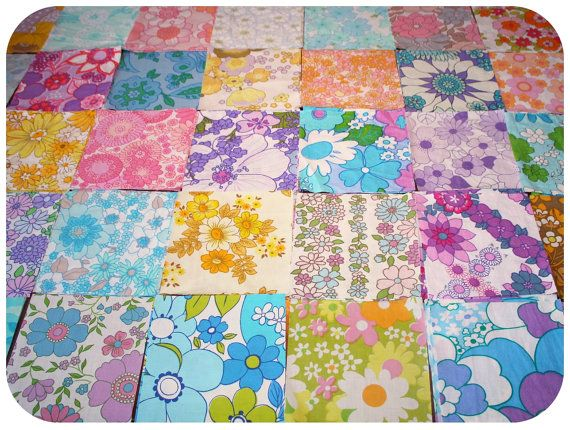 Floral retro vintage fabric squares. From Mirjam Theresa
