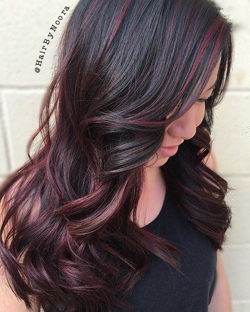 Dark Brown Hair With Burgundy Highlights Burgundy Brown