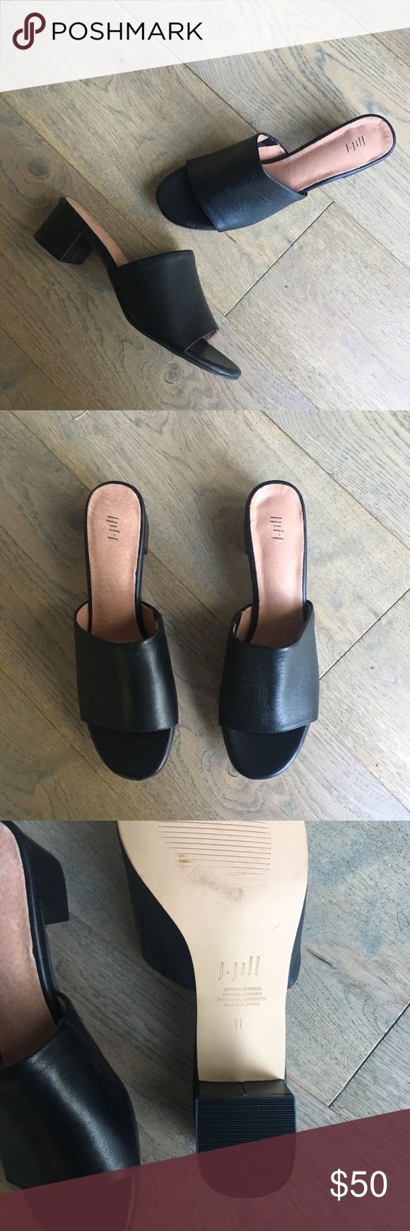 """NEW J.Jill Black Leather Block-Heel Slides J.Jill easy-to-wear leather slides have elastic insets on the sides for added comfort. Leather lining. Synthetic sole. 1 ¾"""" heel. Size 11 Shoes Heels"""