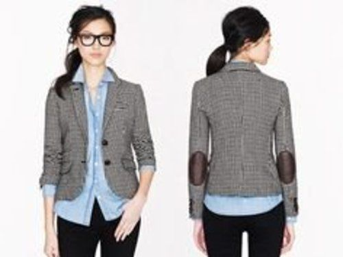 J. Crew Schoolboy Herringbone Wool Elbow Patch Blazer Jacket