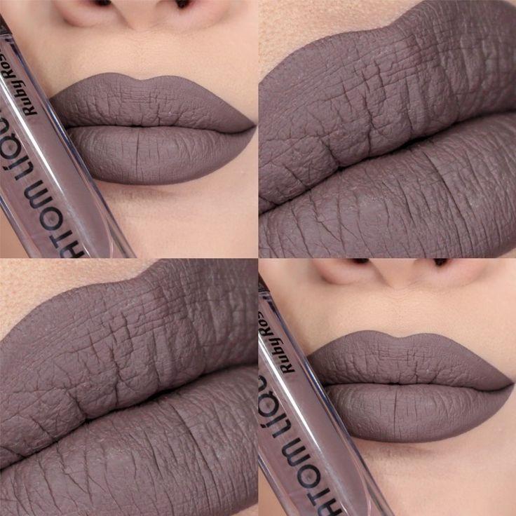 Batom líquido Ruby Rose - O 236 é um batom cinza cimento, com um pouquinho de marrom na composição,