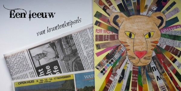 Een leeuw van krantenknipsels - www.jufjaydee.nl