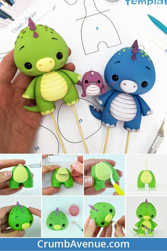 Baby Dino Cake Topper – PDF tutorial with TEMPLATES / cute, fondant, gum paste