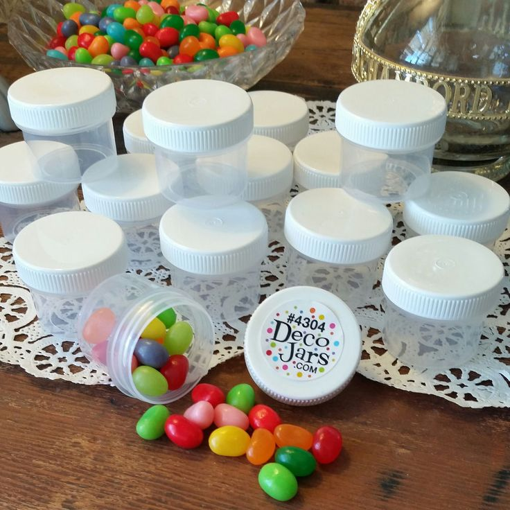 24 Plastic Small Jars Container Candy Parts Makeup 2 Tblsp Herbs DecoJars