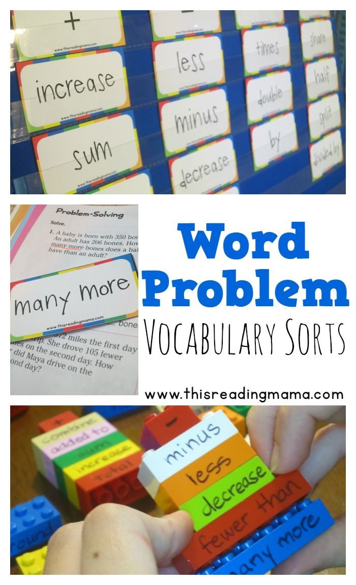 Word Problem Vocabulary Sorts ~ with FREE vocabulary cards for choosing an operation when solving word problems - This Reading Mama
