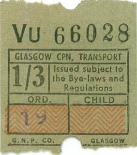 Glasgow tram ticket.