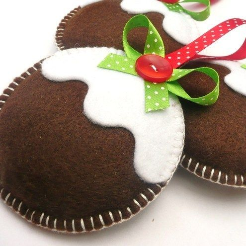 Felt Figgy Puddings Trio - Christmas Decorations - no template or instructions but looks easy enough