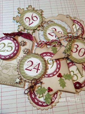 December Daily Tags...make with existing number stamps...prepunch circles, use 7g stamp for outline.