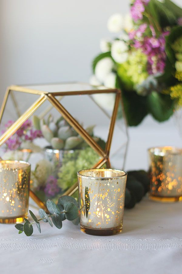 Add charm to your centerpieces with affordable gold mercury glass votive holders | Just Artifacts