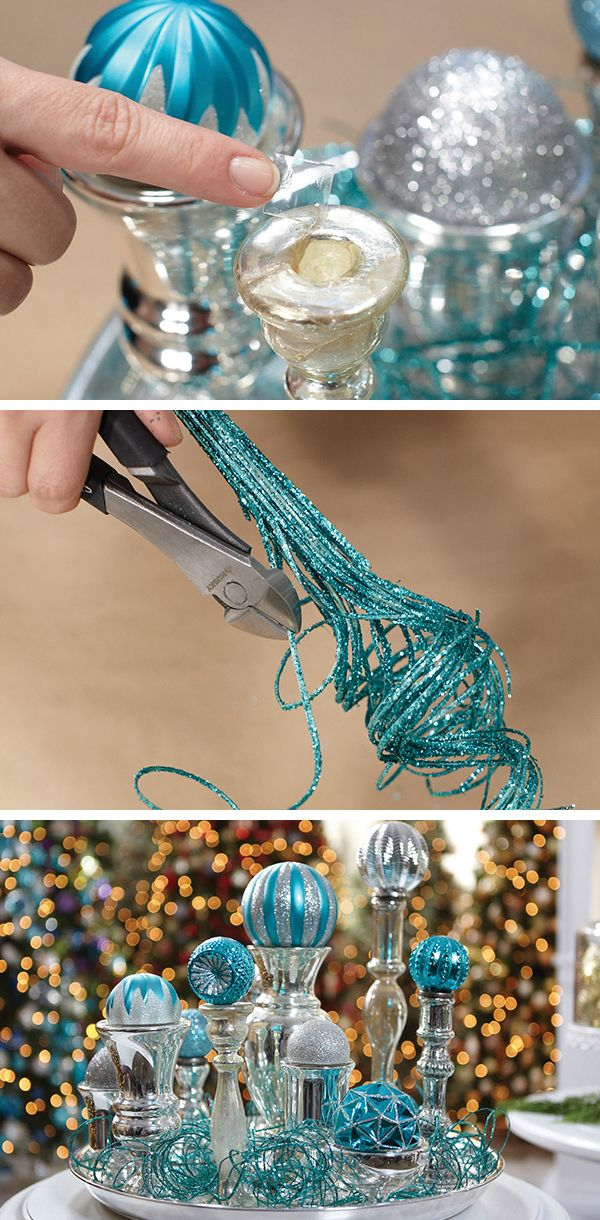 For creative ways to decorate using holiday ornaments, here are three easy projects from Martha Stewart that take about 10 minutes to complete.