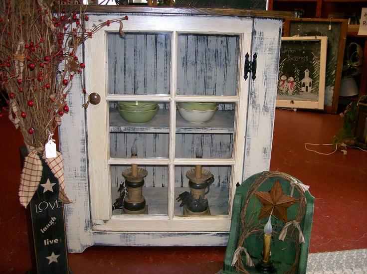 Cabinet made using old window for door primitive and - Cabinet made from old doors ...