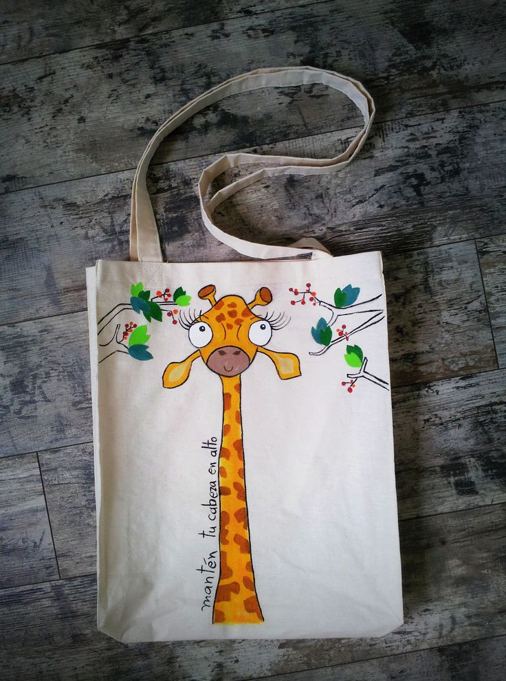 #Textile #Bag with funny handpainted design #Waterproofcolors Theme - Giraffe  Starting price 40 Ron (design on both faces)