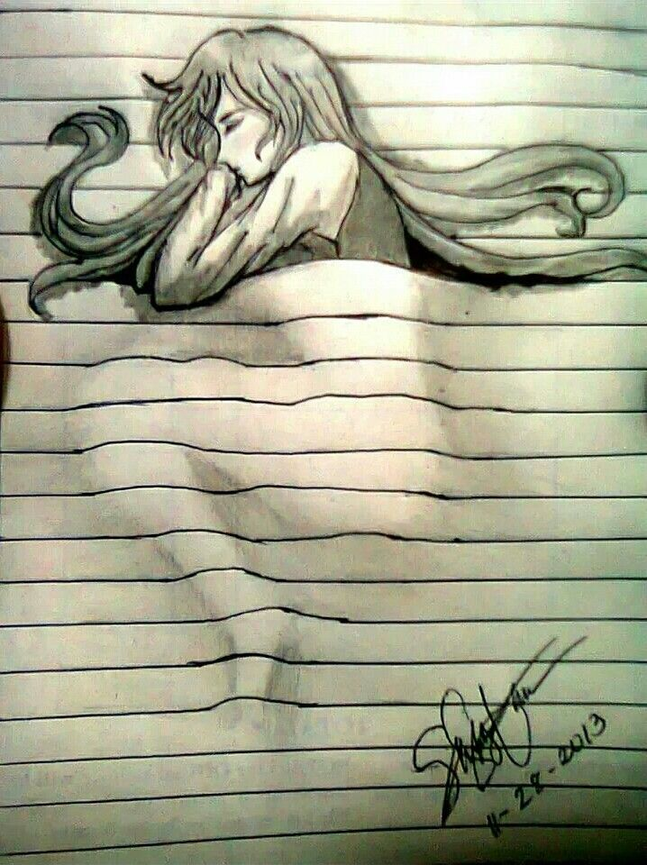 """Conceptual 3D pen drawing, doodle // sleeping within binder paper """"sheets"""""""