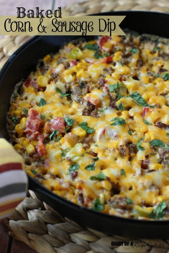 Baked Corn and Sausage Dip - 1 lb breakfast sausage, 1 block cream cheese, 10 oz can Rotel, 2 cans corn, drained, 8 jarred jalapeno slices, chopped, 1 cup shredded cheese, Fresh chopped cilantro, Fritos Scoops
