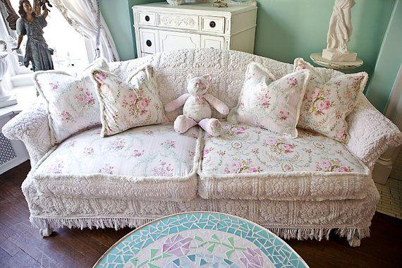 shabby chic sofa couch slipcover ed vintage chenille bedspread roses cottage vintage white pink aqua. Black Bedroom Furniture Sets. Home Design Ideas