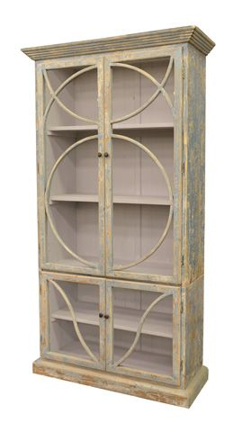 Image Of Bookcase In Distressed Ocean Blue