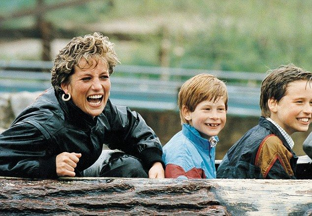 Family outing: Diana, Princess of Wales, pictured with Princes William and Harry at Thorpe...